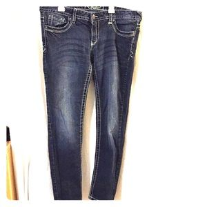 Low rise dark wash jeans